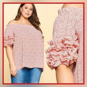 NWT Plus Off The Shoulder Ruffle Sleeve Top
